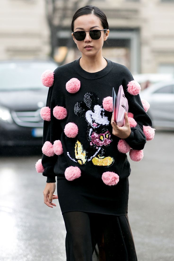 The Best of Milan Fashion Week Street Style 2015 | Day 6 | The Imprint This is not the first time I've seen fashionistas attach pom poms all over their Ready to wear sweaters. I feel a blog post coming on