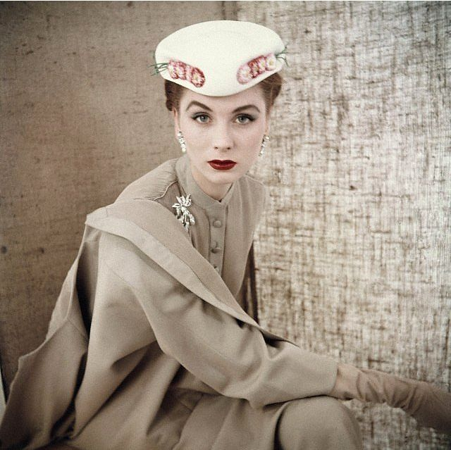 soyouthinkyoucansee:  Suzy Parker wearing beige button-front suit with white flowered hat, both from Christian Dior, March 1953 Photo by Clifford Coffins, soyouthinkyoucansee vintage