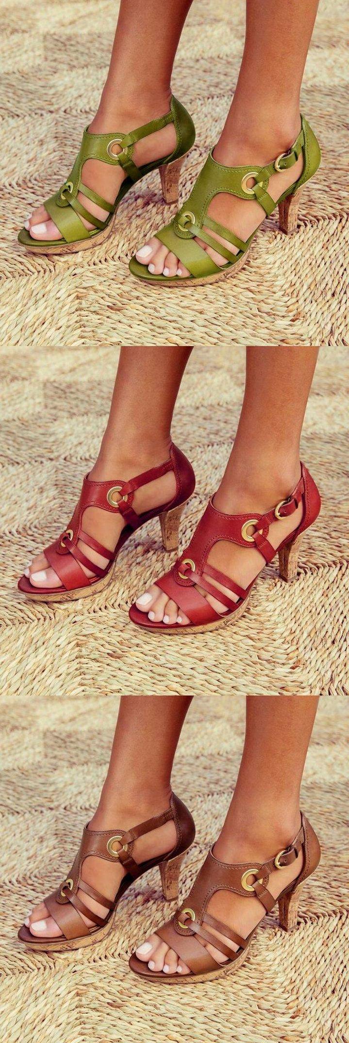 SHOP HEUTE >> Bis zu 70% RABATT! Handmade Vintage Chunky #Sandalen #Schuhe für Sie.Buy 2 Erhalten Sie 8% RABATT!