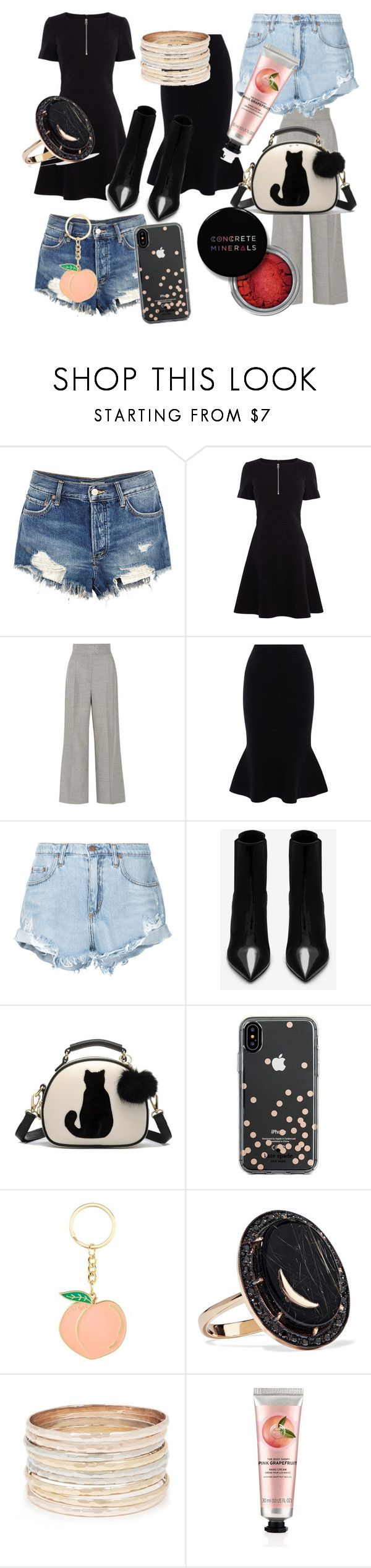 """easy"" by veriveri ❤ liked on Polyvore featuring Free People, Karen Millen, Casasola, Nobody Denim, Yves Saint Laurent, Kate Spade, Andrea Fohrman, The Body Shop and Concrete Minerals"