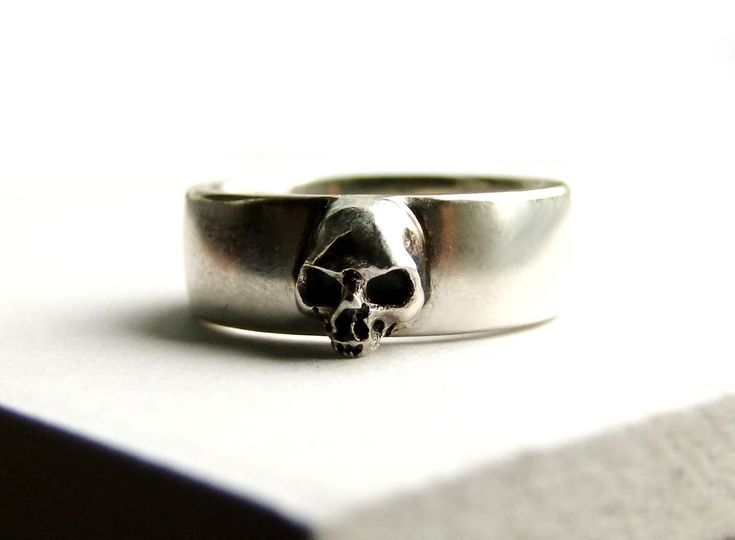 Skull Wedding Ring Grooms Goth Groom Pair Small Mens Psychobilly Band Set All Sizes