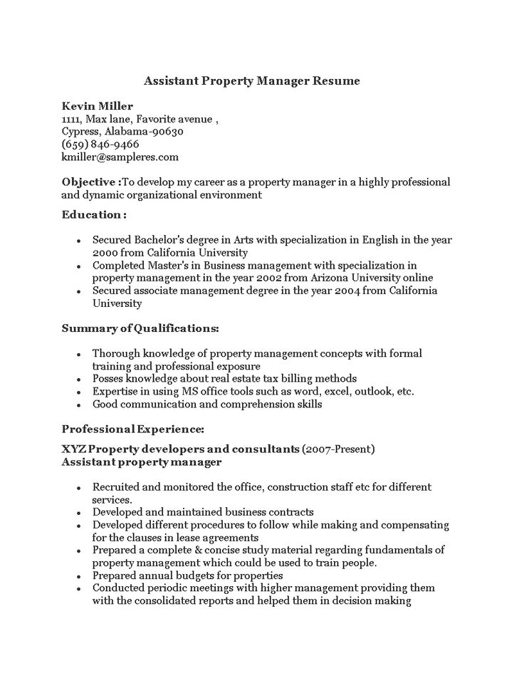 Assistant property manager resume how to prepare an