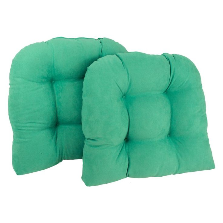Blazing Needles Microsuede U-Shaped Indoor Chair Cushion - Set of 2 Emerald - 93184-2CH-MS-EM