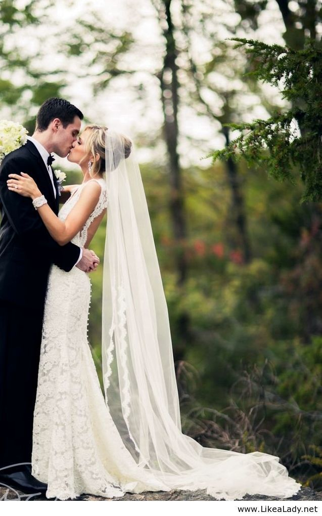 Love this veil and wedding dress combo.