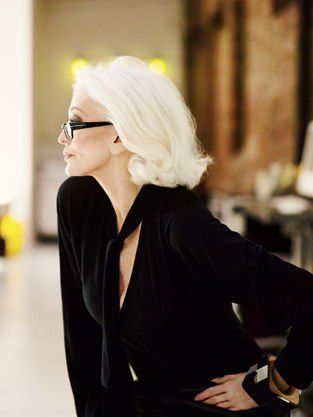 Style at any age! Love her glasses!