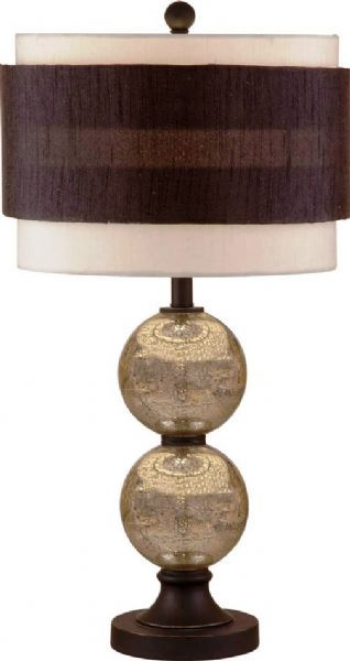 "Bassett Mirror L2594TEC Lamps Salzburg Table Lamp, Glass Material, Transitional Decor, Lustrous Mercury Glass/Bronze Finish, Luxury Class, 30"" Height, 15""W x 30""H, Shade size: 15"" L x 15"" W x 11"" H, Double stacked globe, Dramatic drum shade with bold contrasting band, Single detent switch for high efficiency compact fluorescent bulbs, UPC 036155290942 (L2594TEC L-2594-TEC L 2594 TEC L2594T L-2594-T L 2594 T)"