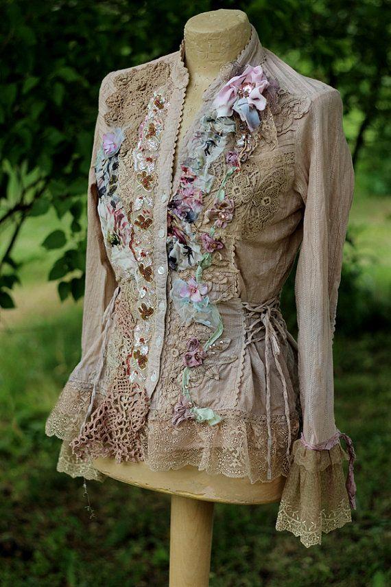 Mañana jardín chaqueta-romántico bohemio alterado couture