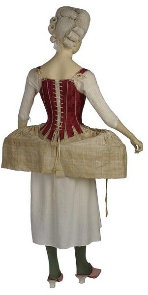 Stays (corset) and panniers (hoops), English, 1770-1790. V Museum.