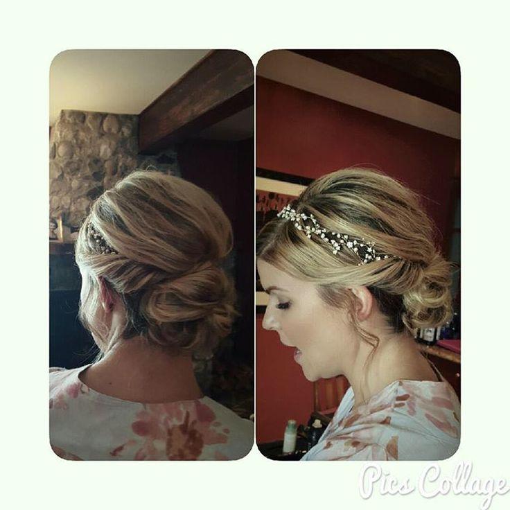 Emerald lake lodge wedding hair by Natalia makeup by Meg #beautifulbritishcolumbia #emeraldlakelodgewedding #aveda #rainydays #banffstylists #mountain weddings