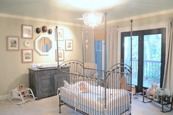 Four-Poster Iron Bed in this Natural Nursery