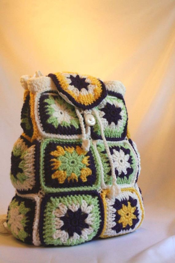 Crochet Backpack : ... Backpacks, Crochet Bags Pur, Crochet Granny Squares, Crochet Bags