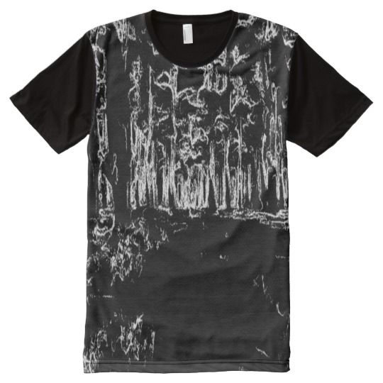 black and white forest drawing All-Over print T-Shirt Black and white drawing art of a forest with many trees.