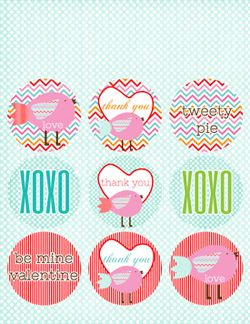 Click on each image to download the pdf.   You will need a pdf reader to view the printables.  Free for personal use only.    Our Valentine Printable Collection includes:    Note Cards   Party Favor Tags   Cupcake Toppers   Party Favor Box   Confetti