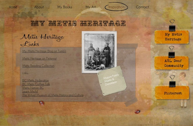 My Métis Heritage page on my website:  www.susanlgreig.com  metis