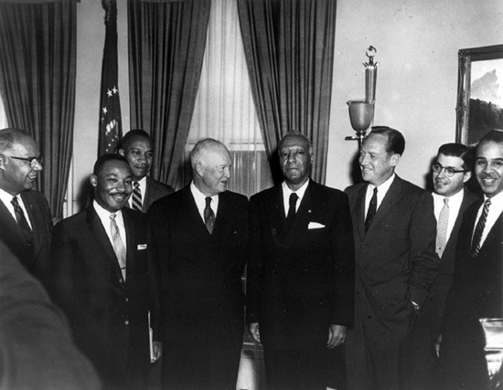 In 1957, Republican President Dwight Eisenhower passed the first Civil Rights Act in 82 years. Congressional Democrats blocked all attempts at CRAs during FDR's and Truman's administrations. Pictured: Laster Grander, Martin Luther King, Jr., A. Philip Randolph, and Roy Wilkins meet with Republican President Dwight Eisenhower, Attorney General Williams Rogers, Rocco Siclliano, and Frederic Morrow at the White House. June, 1958.