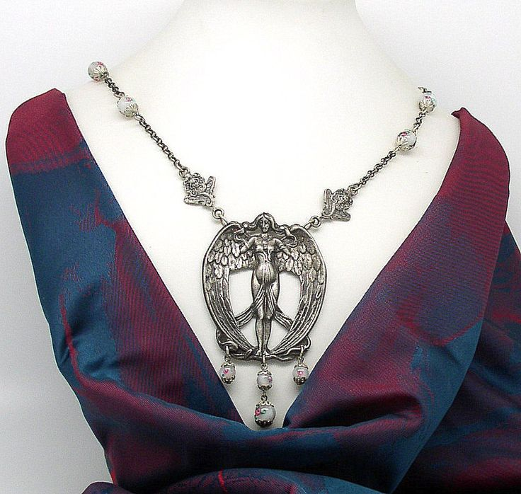 NECK  7 Art Nouveau necklace ANGEL GIRL by ClassOfGlass on Etsy