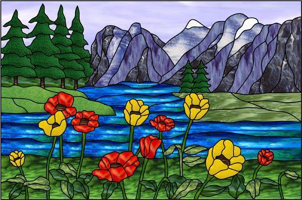 picture regarding Free Printable Stained Glass Patterns identify Graphic final result for Landscape Stained Gl Styles No cost