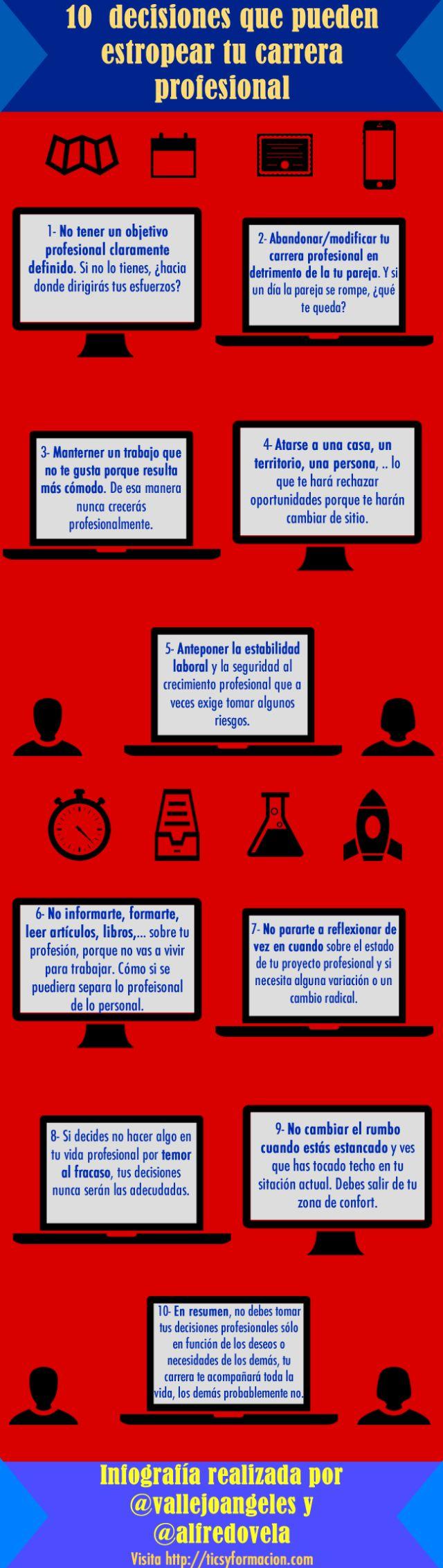 10  decisiones que pueden estropear tu carrera profesional #infografia