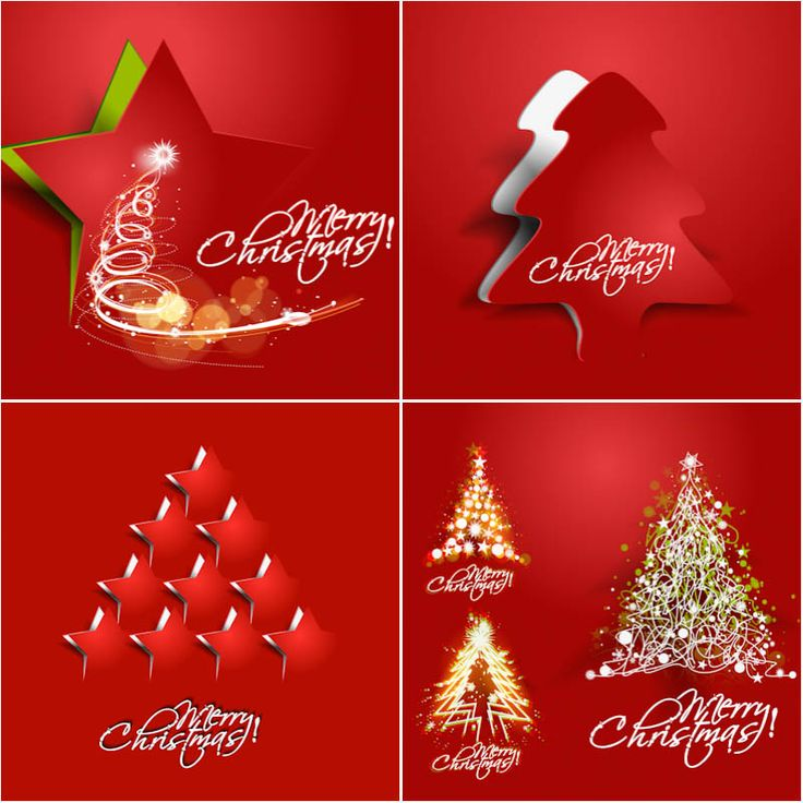 Red Xmas Cards Vector