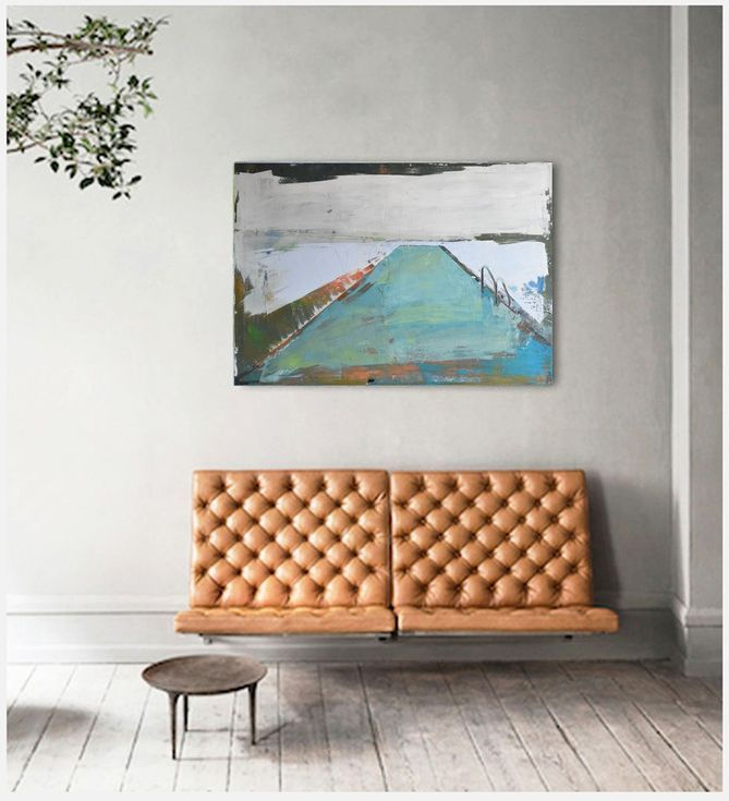 "Buy Oil painting, canvas art, stretched, ""Abstract lake 23"" , 39.37/27.5 inches, (100/70cm)., Oil painting by Karina Antończak on Artfinder. Discover thousands of other original paintings, prints, sculptures and photography from independent artists."