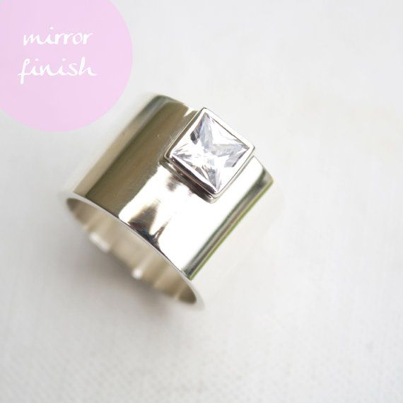 chunky silver ring edgy statement ring square stone by LolaAndCash, $142.00