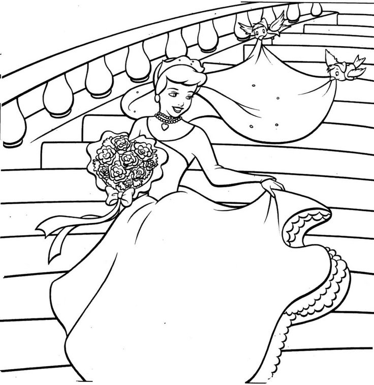 Cinderella Comes To Party Coloring Pages