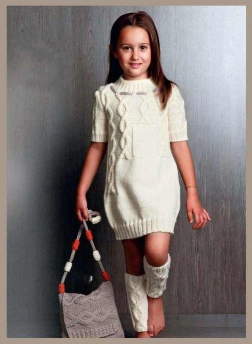 Озорные петельки: Белое платье, Сумка, Гетры