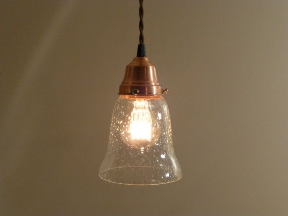 Copper Pendant Light With Seeded Glass Bell Shaped Shade