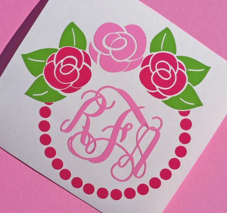 Rose Monogram Decal | Flower Monogram Decal | Frame Monogram | Yeti Monogram | Planner Decal | Computer Decal | Car Monogram by APinkFig on Etsy https://www.etsy.com/listing/470917079/rose-monogram-decal-flower-monogram