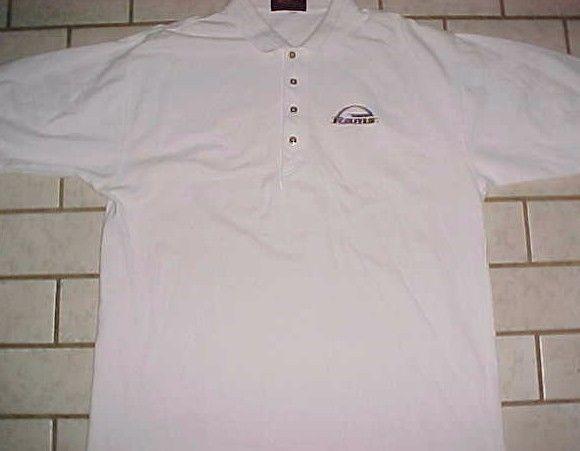 St. Louis Rams Team Logo NFL NFC West Antigua Men's White Polo Shirt 2XL #Antigua #StLouisRams