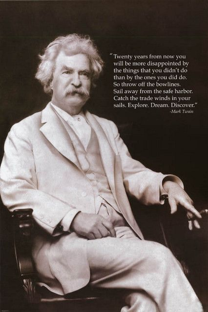 Mark Twain Explore Dream Discover Quote Poster 24x36