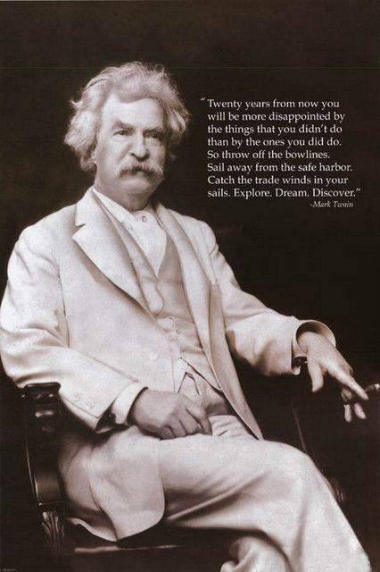Mark Twain Explore Dream Discover Quote Poster 24x36