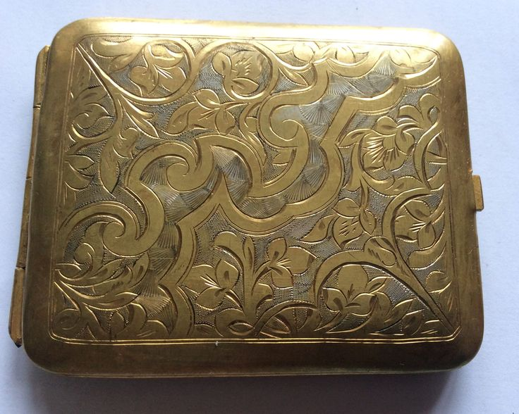 Russian Antiques Old cigarette case metal, gold plated by Melhior on Etsy