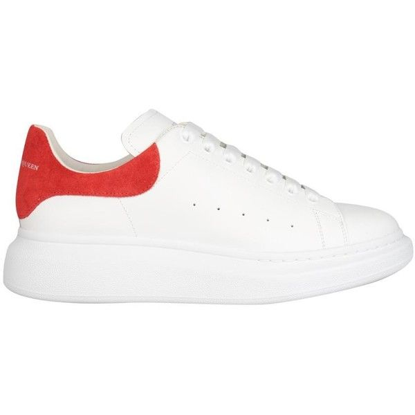 Alexander McQueen Oversized leather sneakers ($490) ❤ liked on Polyvore featuring shoes, sneakers, white, summer sneakers, summer shoes, leather sneakers, white leather sneakers and perforated shoes