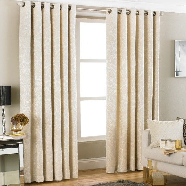 Paoletti Firenze Damask Jacquard Woven Lined Eyelet Curtains, Cream, 90 x 90 Inch