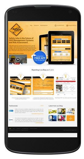 Mobile compatible website design for Safetyjohn website