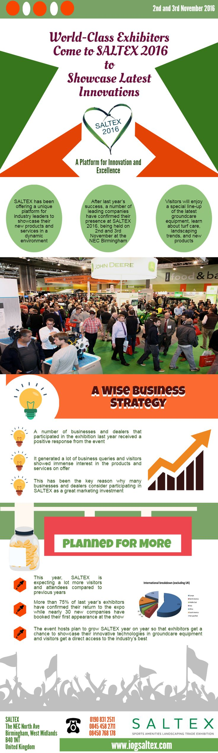 World-Class Exhibitors Come to SALTEX 2016  SALTEX has been offering a unique platform for industry leaders to showcase their new products and services in a dynamic environment. After last year's success, a number of leading companies have confirmed their presence at SALTEX 2016, being held on 2nd and 3rd November at the NEC Birmingham. Visitors will enjoy a special line-up of the latest groundcare equipment, learn about turf care, landscaping trends, and new products.  #Groundcare…