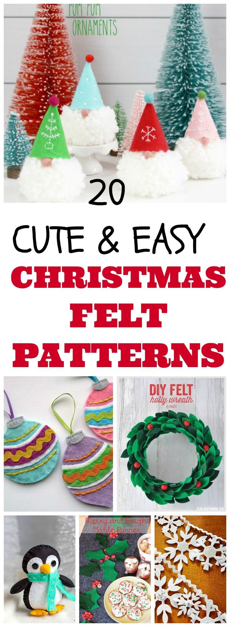 20 DIY christmas felt patterns for holiday crafts, christmas gift ideas and winter decor.