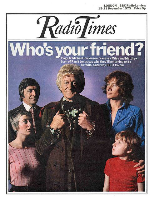 Doctor Who's Jon Pertwee on the 15-21 December issue of the London edition of the Radio Times, United Kingdom, 1973, published by BBC Magazines.