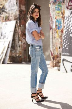 Blue jeans and black heels