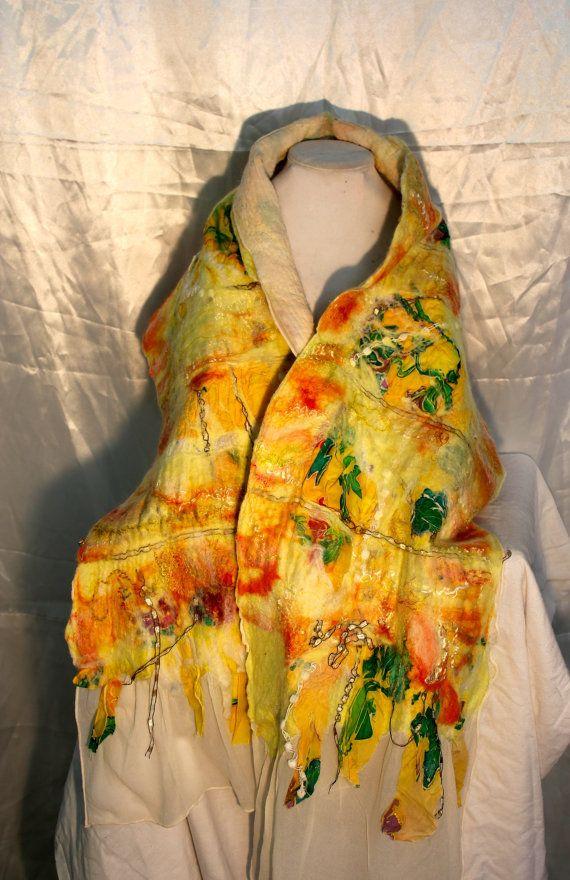 Nuno Felted Silk Shawl. Elegant Yellow Silk by MindfulPresents