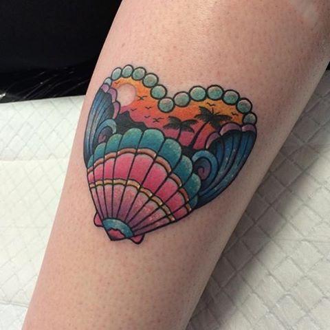 WEBSTA @ trailertrashtattoo - Tropical scene shell tattoo by @chantel_666 !!