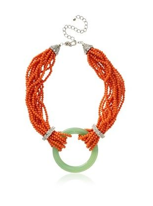Kenneth Jay Lane Multi Row Bead Necklace with Rings