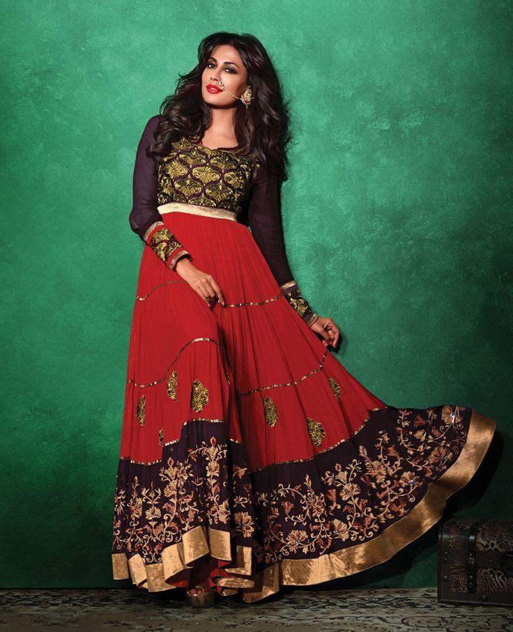 Red & Purple Swagat Chitrangda #Abaya Style Anarkali #Churidar kameez http://www.reshamfabrics.com/salwar-suits/red-purple-swagat-chitrangda-abaya-style-anarkali-churidar-kameez.html