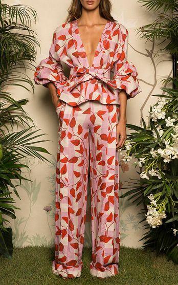 Johanna Ortiz Resort 2017 Yoko Belted Puff Sleeve Blouse $995, Colorado Wide Leg Pants $1,150,sitnica