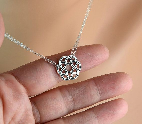 All Sterling Celtic Double Chain Necklace Celtic by Beautiful2u
