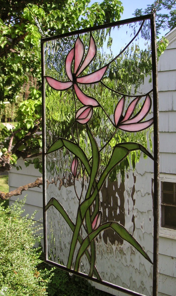 Pink cosmos blooming 15 x 26 stained glass window for 15 panel beveled glass door