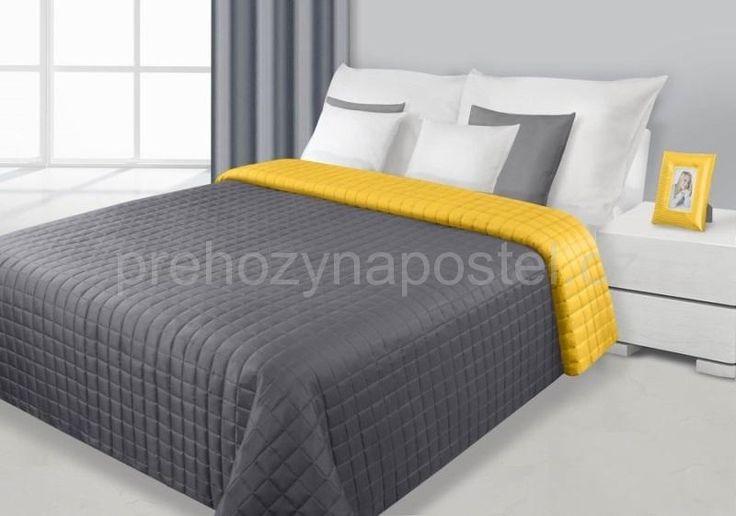 Přehoz na postel šedě žluté barvy