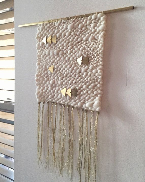 Oro y plata crema tejida colgante de pared tejido