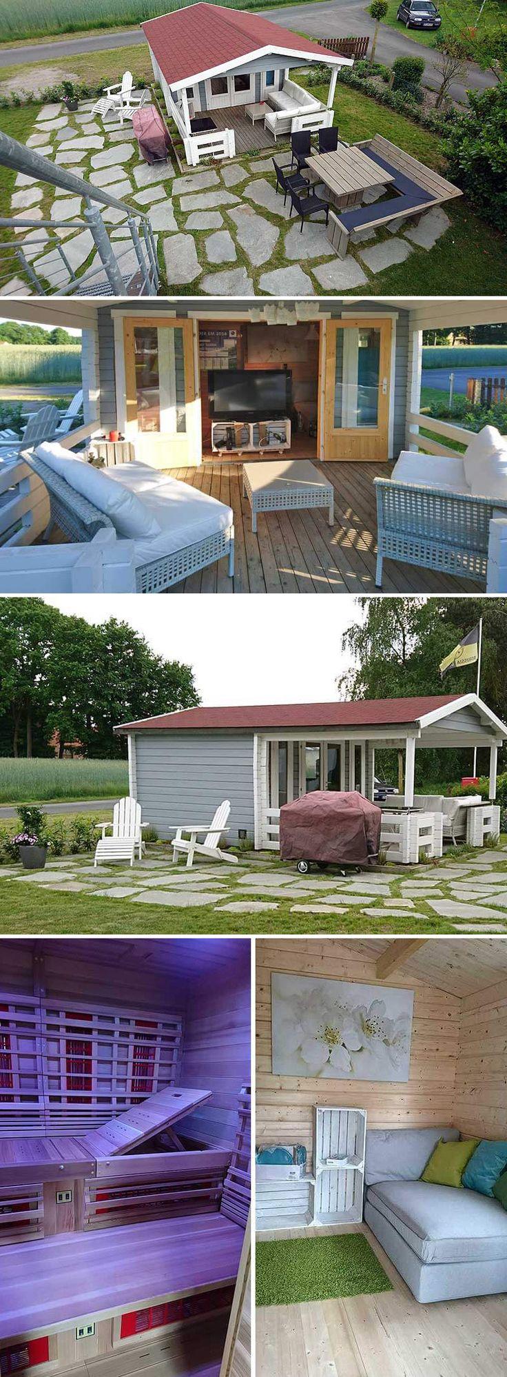 Infrarotkabinen sind eine sanfte Alternative für alle, die sich für die heißeren Saunen mit Holz- oder Elektro-Ofen nicht begeistern können. Ein komplettes Infrarot-Saunahaus gibt es allerdings nicht, also hat Familie Johannsen ihre Infrarot-Sauna in das Gartenhaus Lappland-70 B ISO eingebaut: Ruhebereich, TV-Terrasse und Außengrill inklusive. In unserem Magazin stellen wir das schöne Projekt vor.